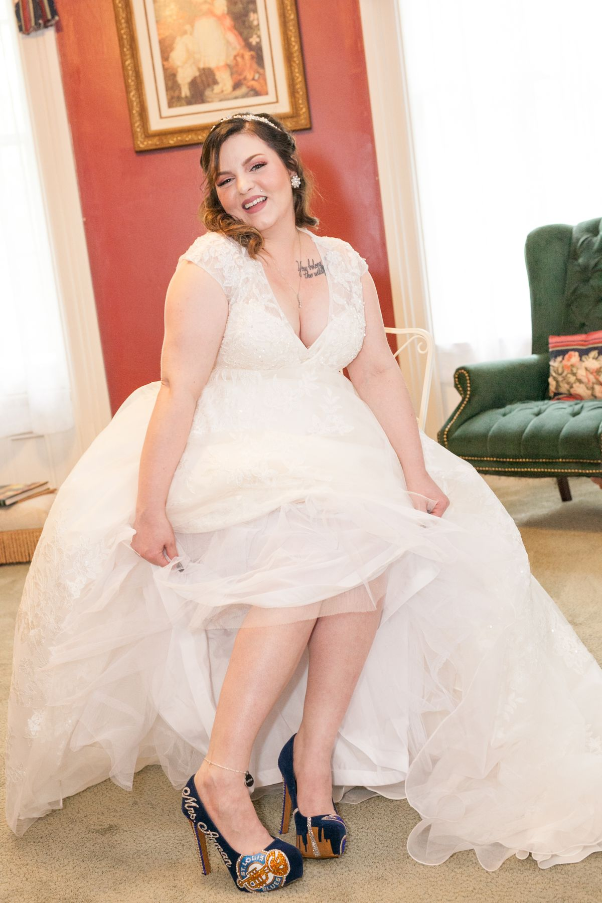 Smiling Bride in the Bridal Dressing Suit.