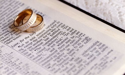 Wedding Rings photographed ontop of Bible