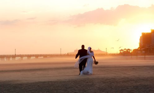 Walking away into the sunset together