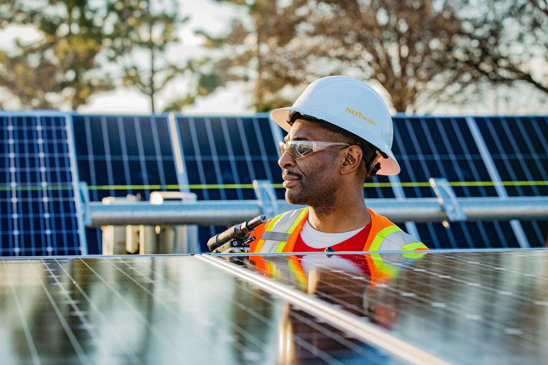 Solar Installer in Field