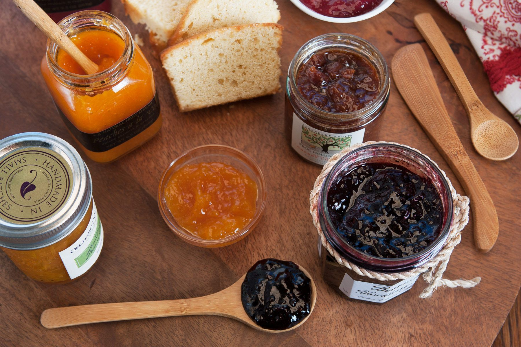 assorted jams and fruit preserves with butter pound cake