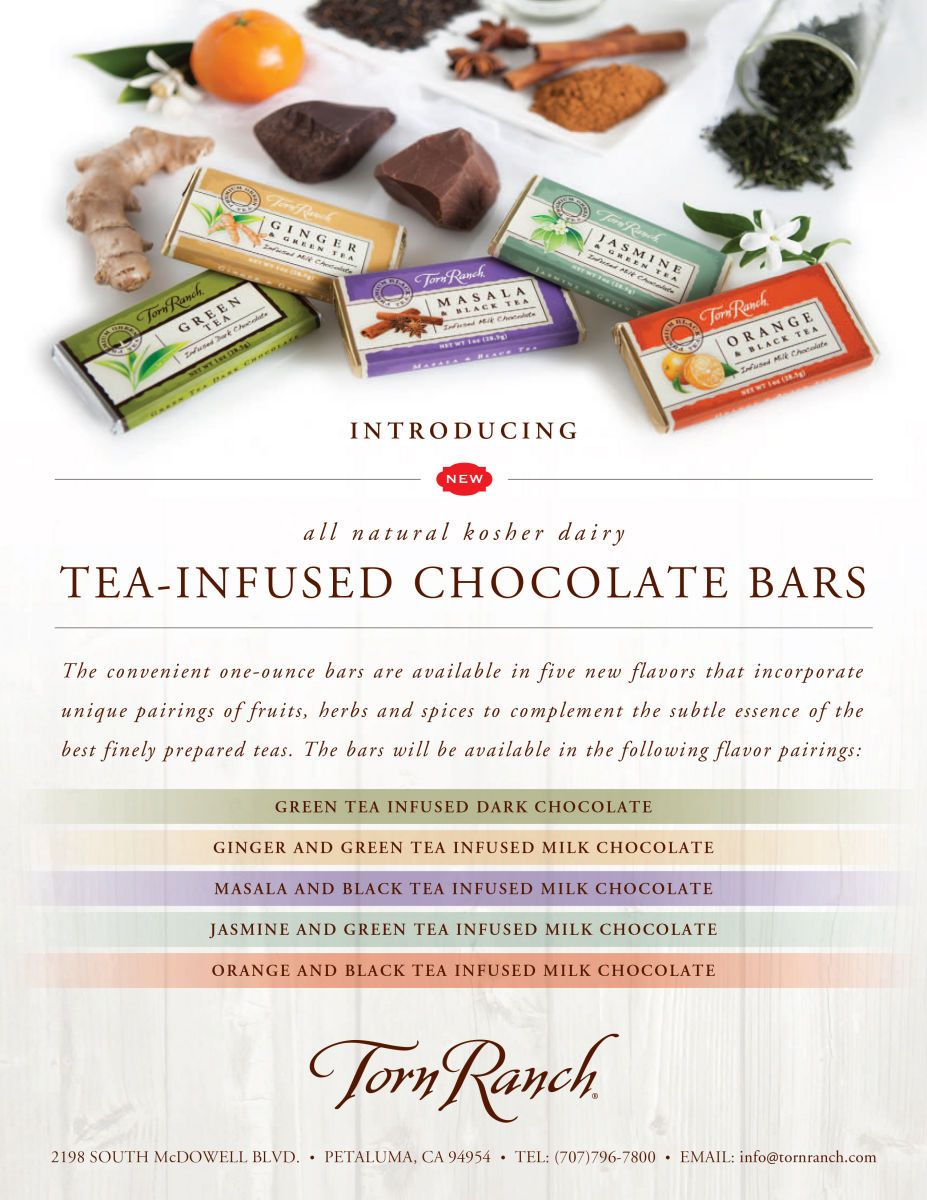client: Torn Ranchassignment: conceputalize, food/prop styling and photography for launch of new product line an assortment of tea chocolate bars