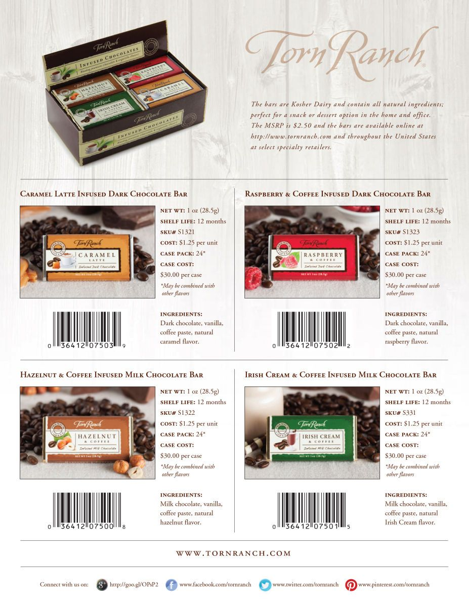 client: Torn Ranchassignment: conceputalize, food/prop styling and photography for launch of new product line an assortment of chocolate cofee bars