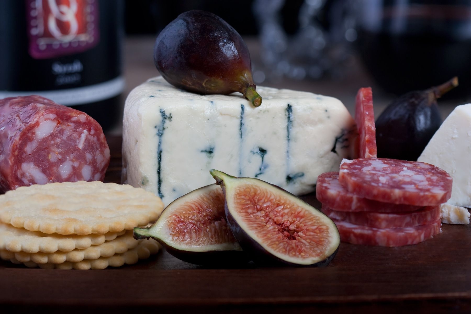 figs, blue cheese, crackers and salami