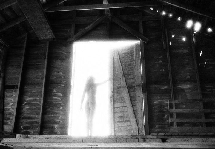 Nude in Barn Doorway