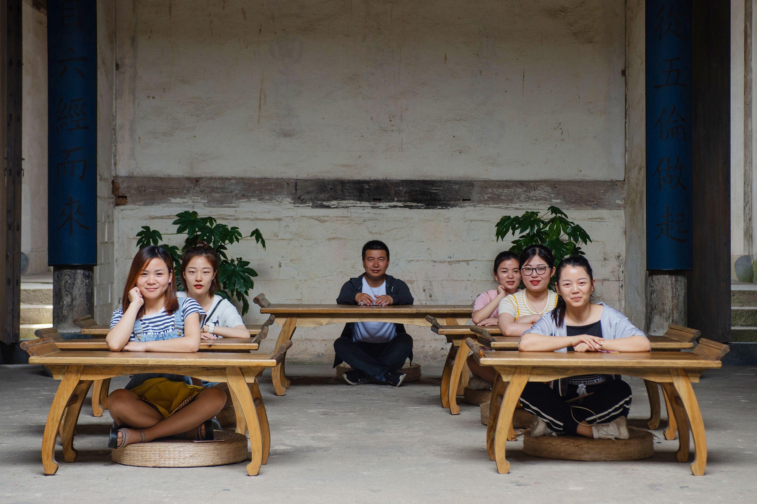 School Girls at Desks