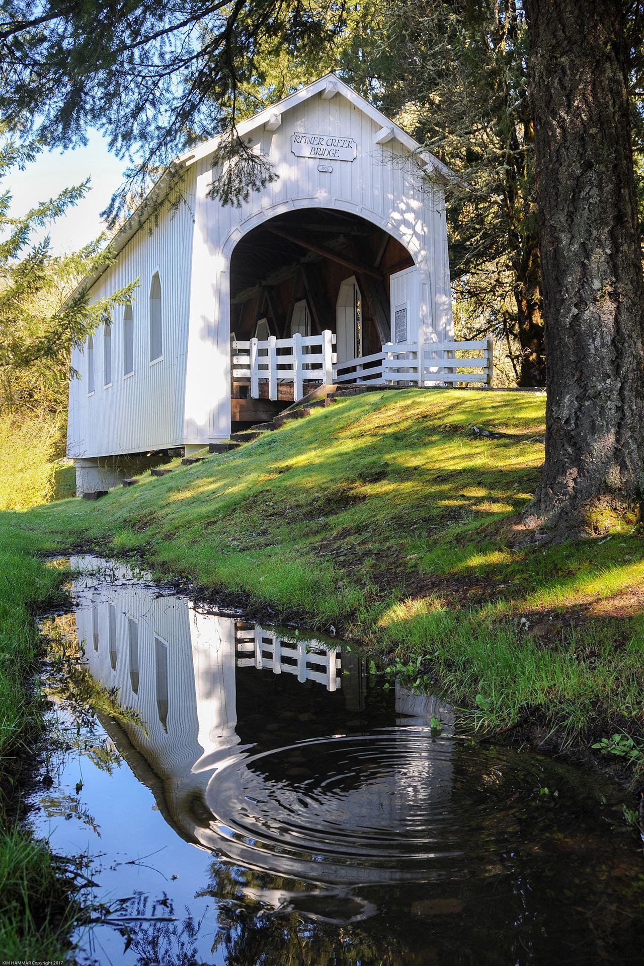Reflection of Ritner Creek Covered Bridge