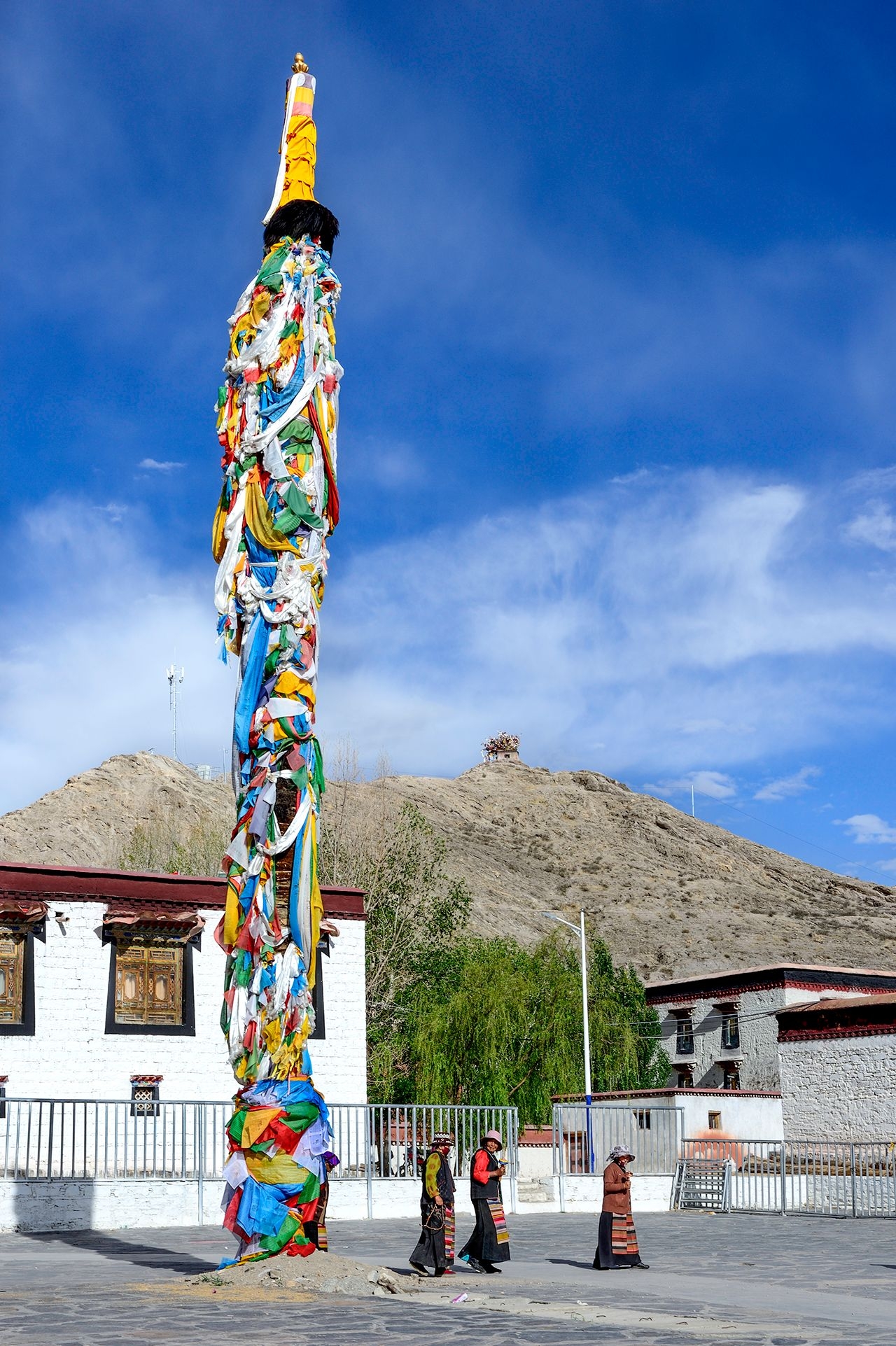 Prayer Flag Pole in Palcho Monastery