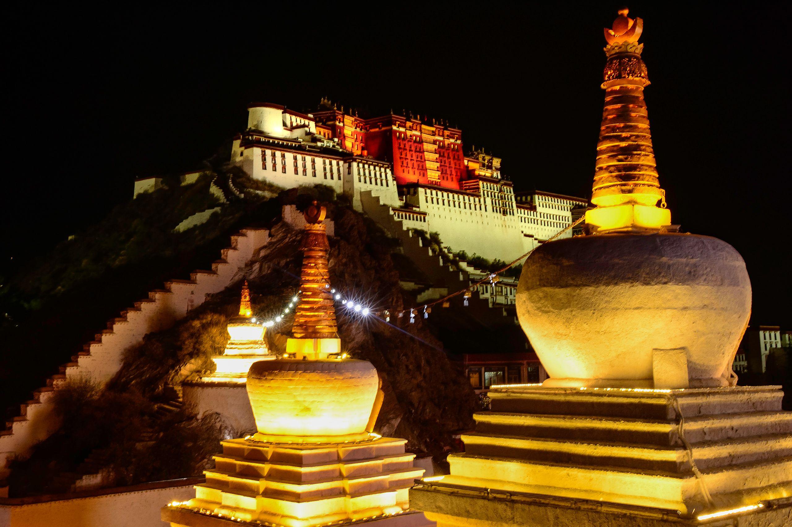Potala Palace and Chortens at Night