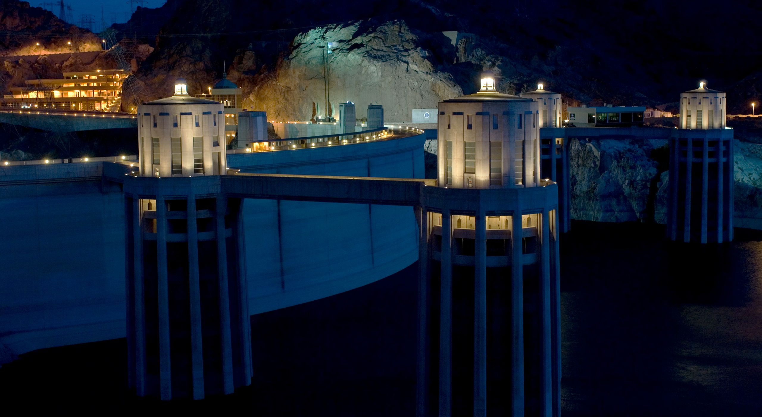 Hoover Dam Towers At Night