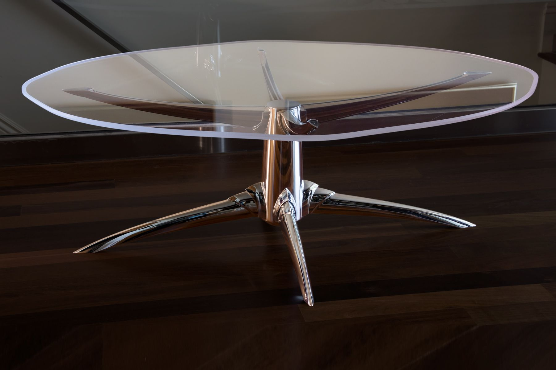 1aaron_levine_contemporary_modern_studio_furniture_maker_metal_aluminum_acrylic_plastic_woodworker_art_artist_northwest_stretch_chrome_decorative_coffee_table_detail2.jpg