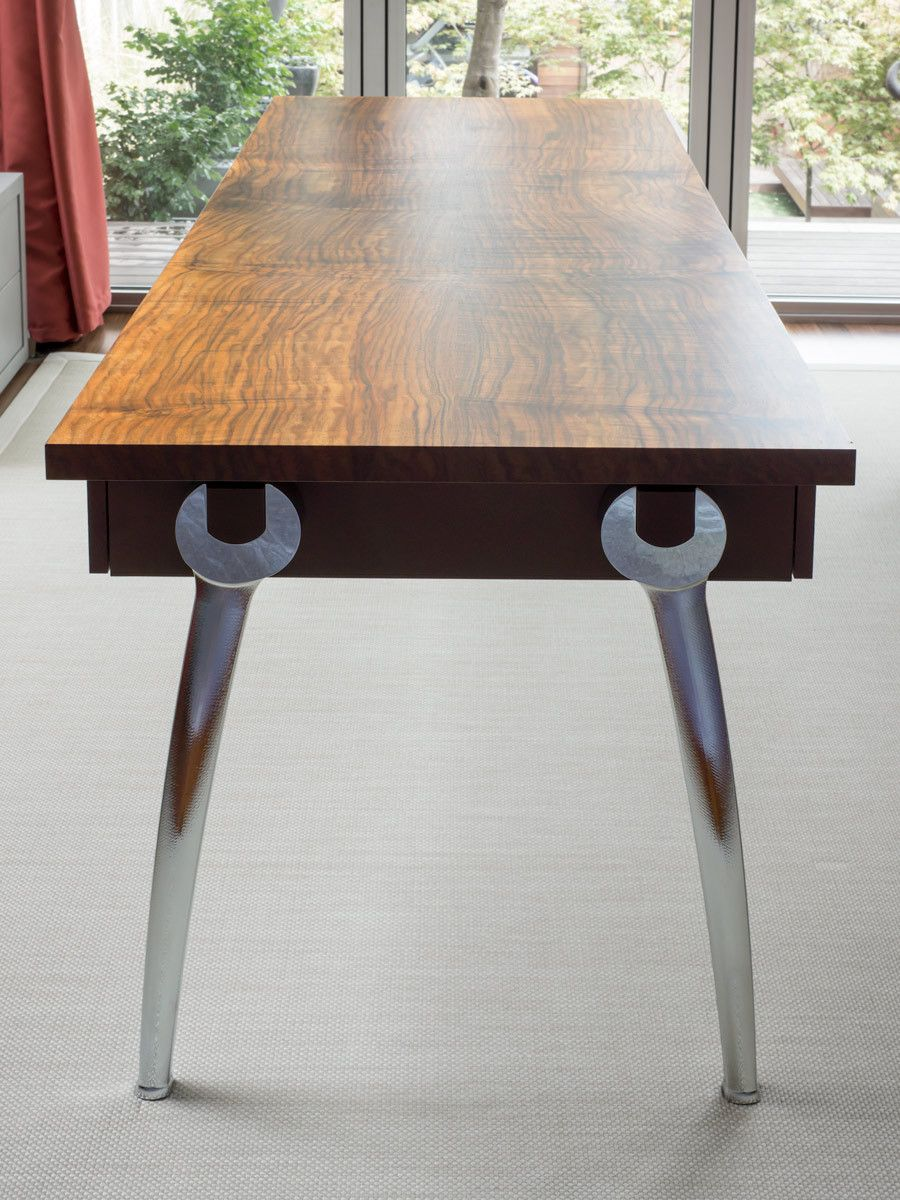 1aaron_levine_contemporary_modern_studio_furniture_maker_metal_aluminum_chrome_wrench_wrenches_western_claro_walnut_woodworker_art_artist_northwest_wrenched_writing_table_desk_drawers_table_detail2.jpg