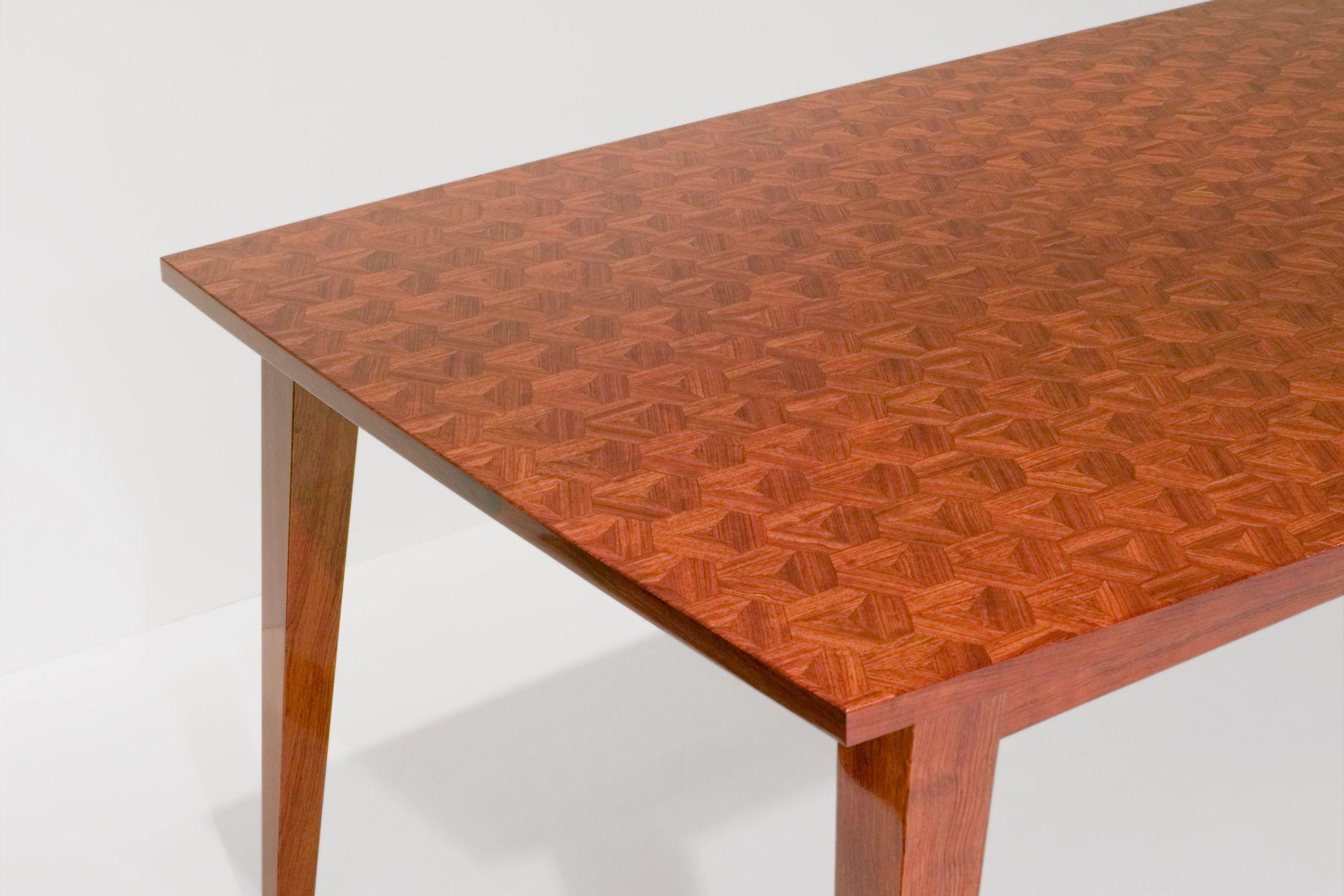1_aaron_levine_contemporary_modern_studio_furniture_maker_wood_woodworker_art_artist_northwest_parquetry_tessellation_hexed_dining_writing_table_bubinga_landing_detail2.jpg