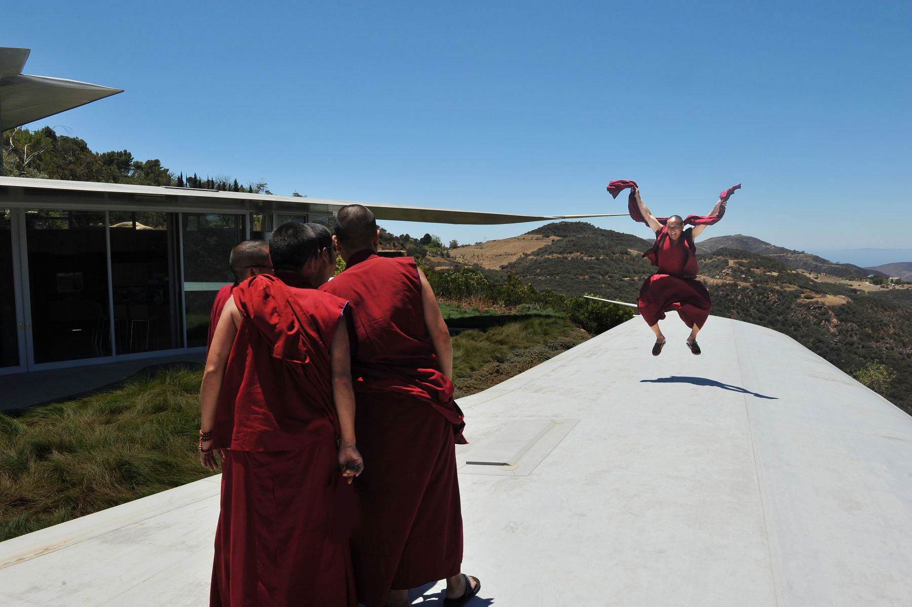 Tibetan monks on the wing