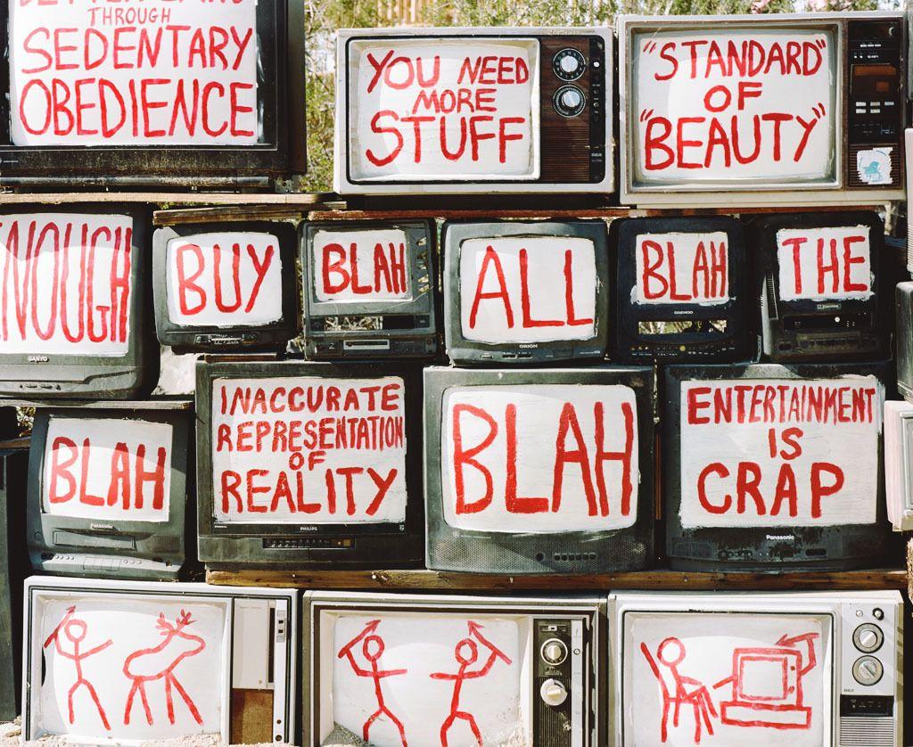 'The Television Will Not Be Revolutionized' (detail)- Flip Cassidy, artistThree Basics ofi Life:1) Man Against Beast 2) Man Against Man 3) Man Against Media