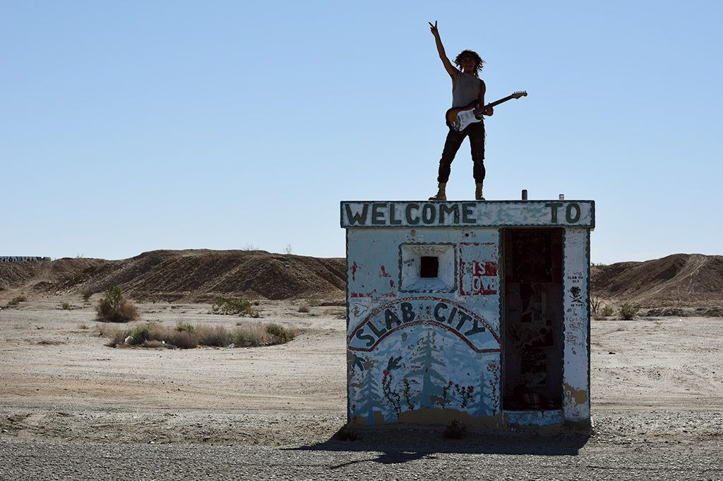 "'Apache'TransientAtop former Camp Dunlap guard house on Beal Rd, now gateway to Slab City.""This is freedom."""