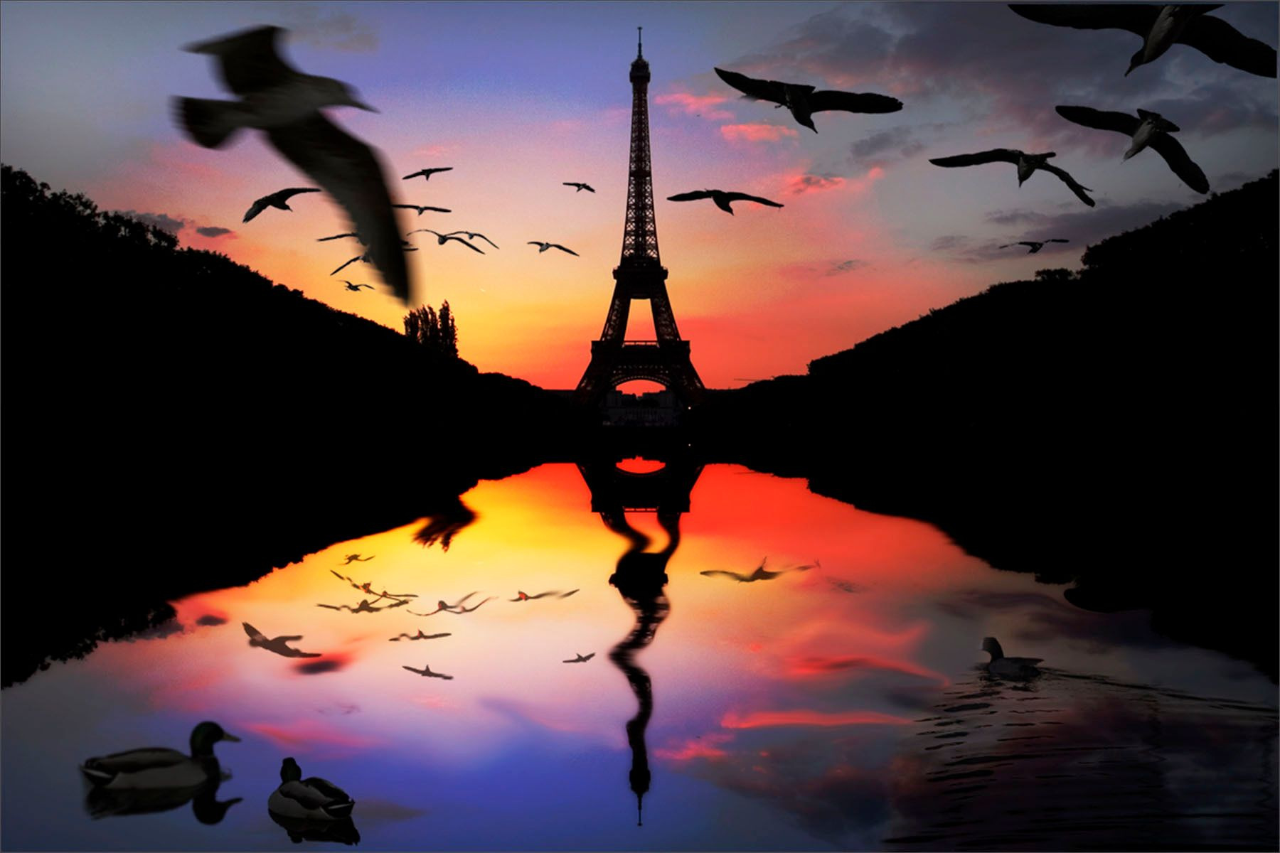 Eiffel Tower reflected  Sunset