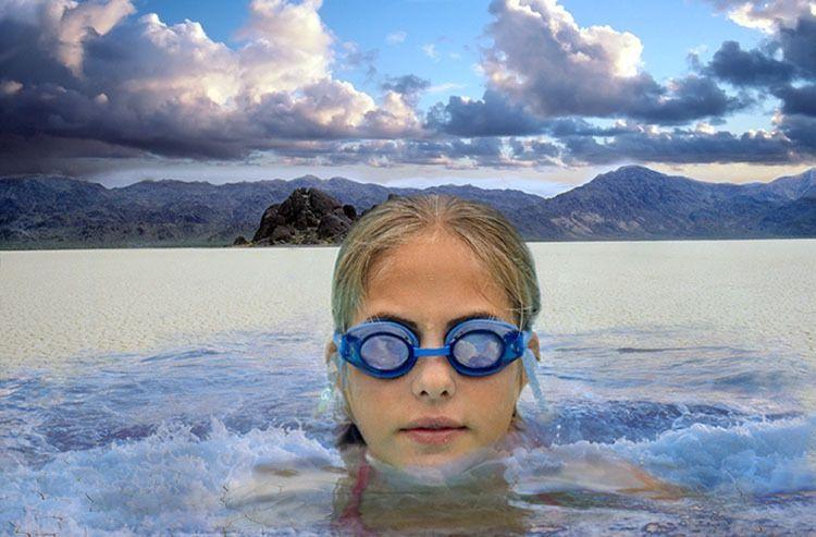 swimming in desert