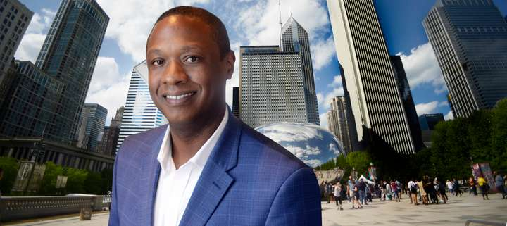 Executive portrait of African American businessman in Chicago