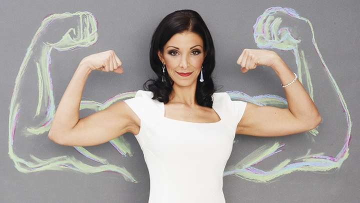 Woman showing biceps