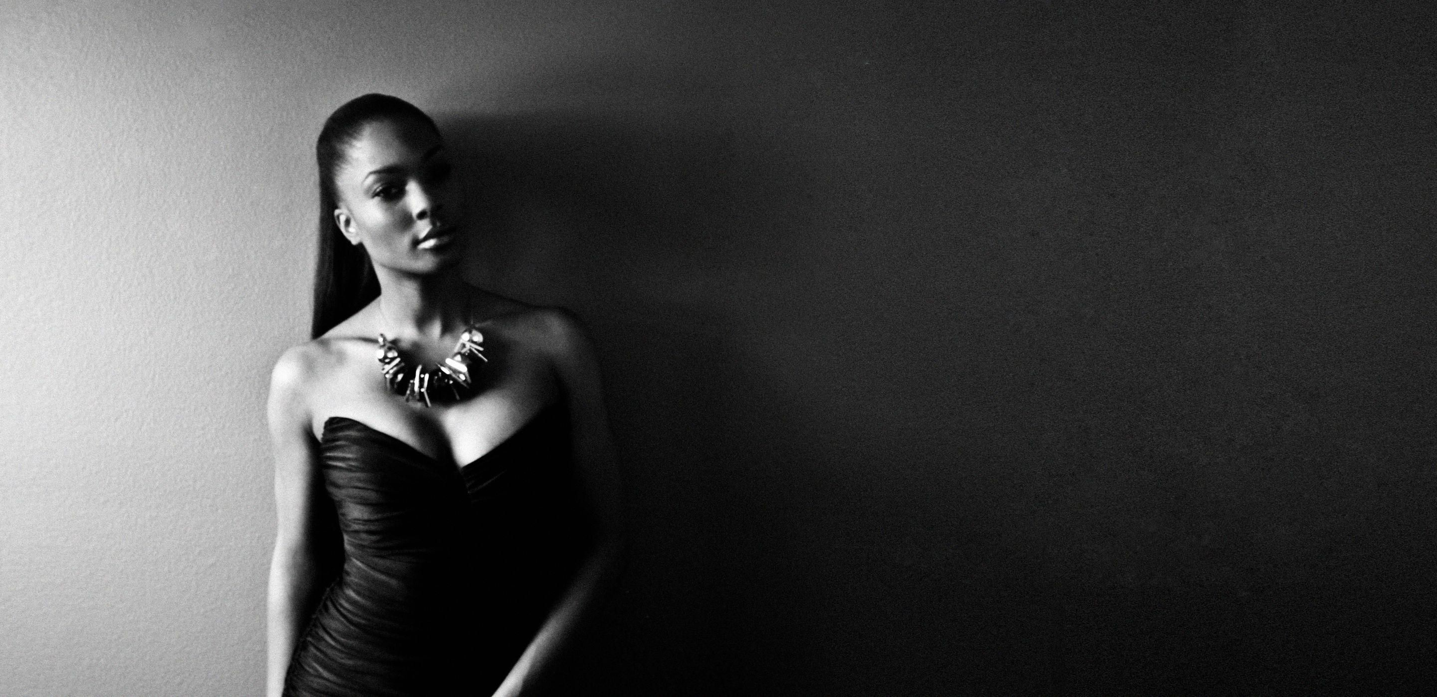 Black and White Self Portrait by Lanisha Cole