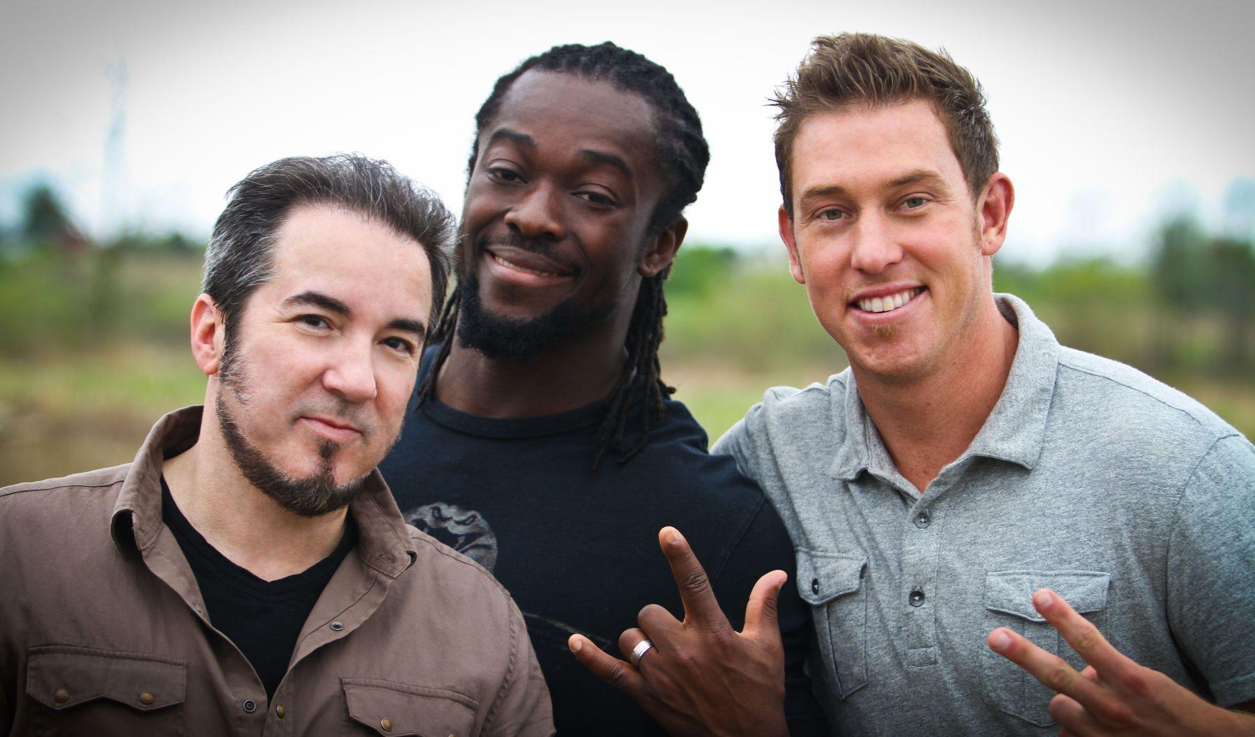 "Bill Murphy, WWE champion Kofi Kingston, and Austin Porter""Fact or Faked: Paranormal Files""photo by Lanisha Cole"