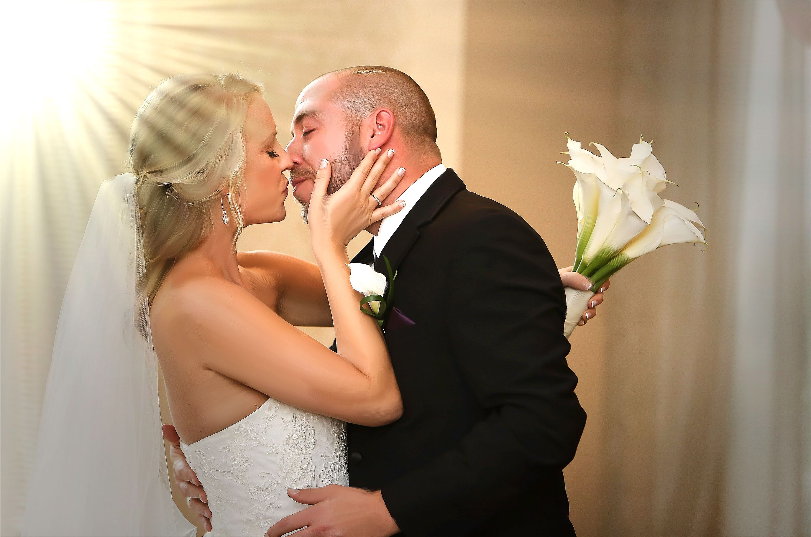 First Kiss of the bride and groom