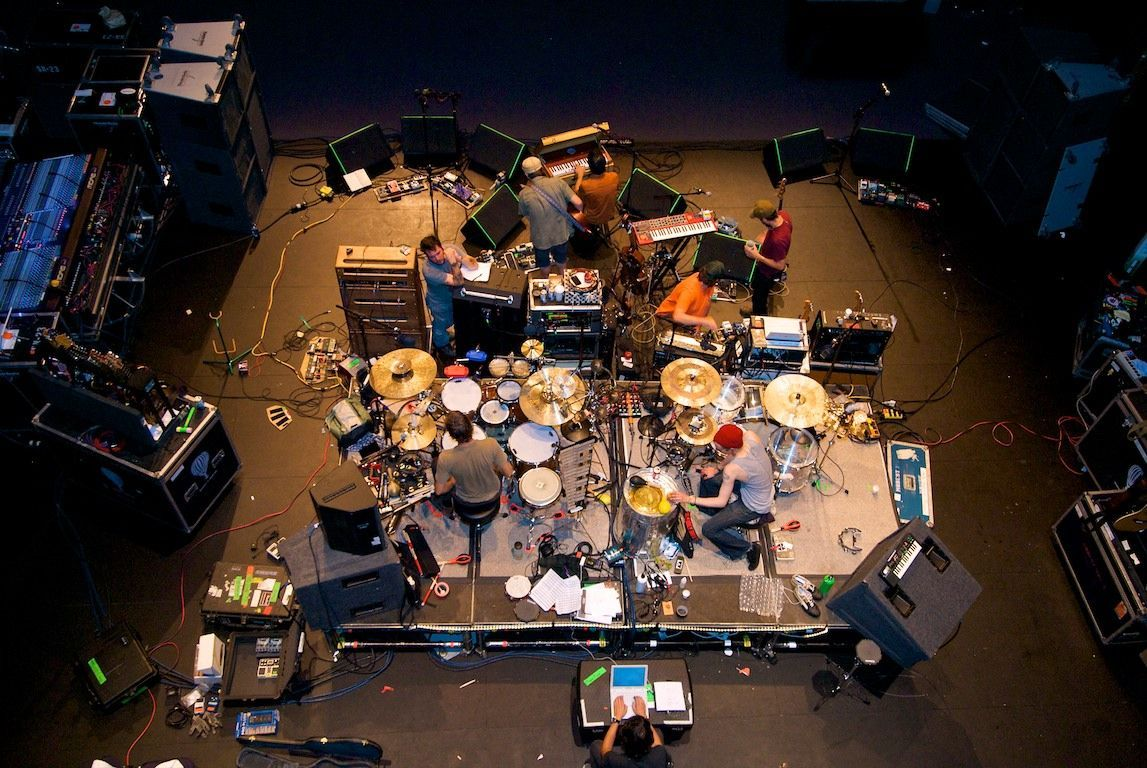 Modest Mouse at soundcheck. Shot from above