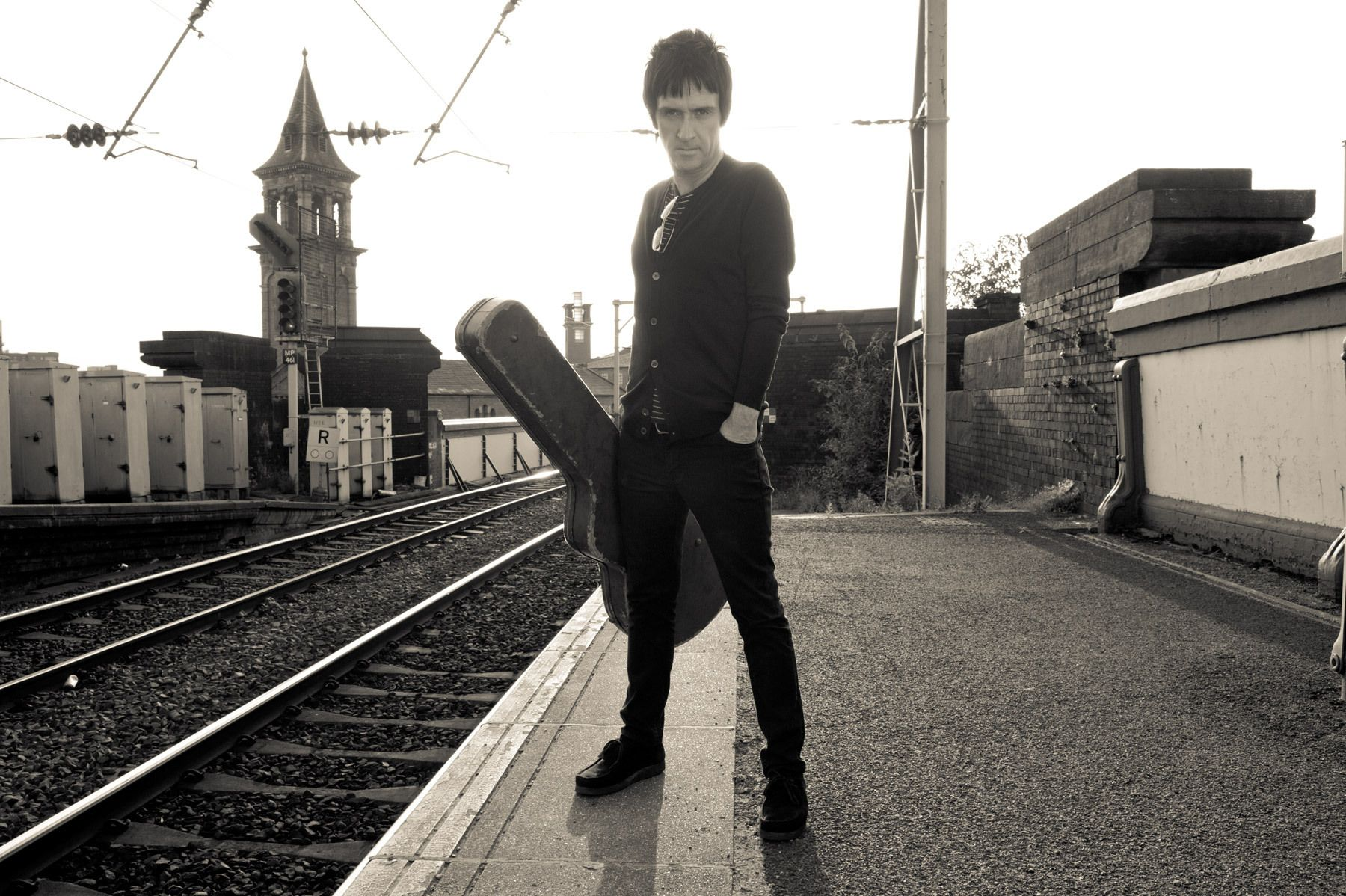 Johnny Marr at the train station in Manchester.