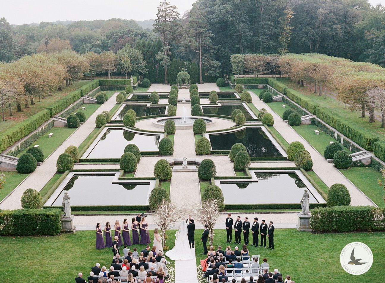 Wedding ceremony at Oheka Castle from above