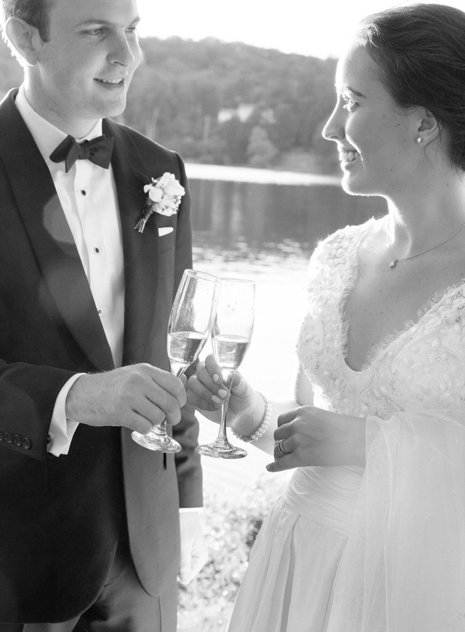 Wedding couple toasting champagne
