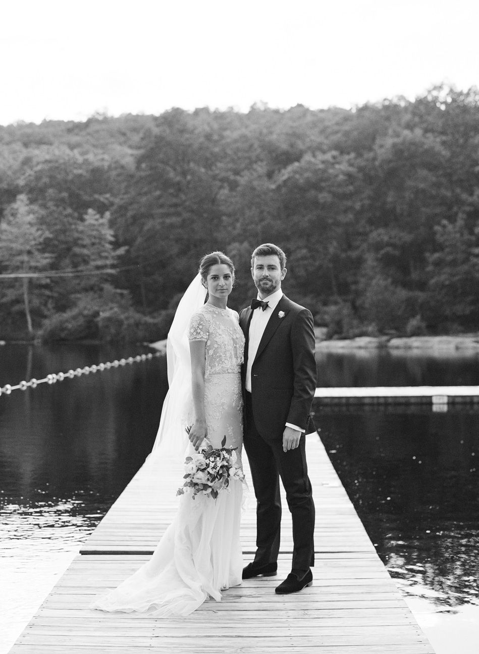 Wedding couple on a dock