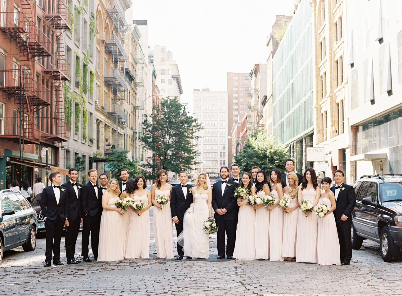 Bridal party in NYC on a cobble stone street