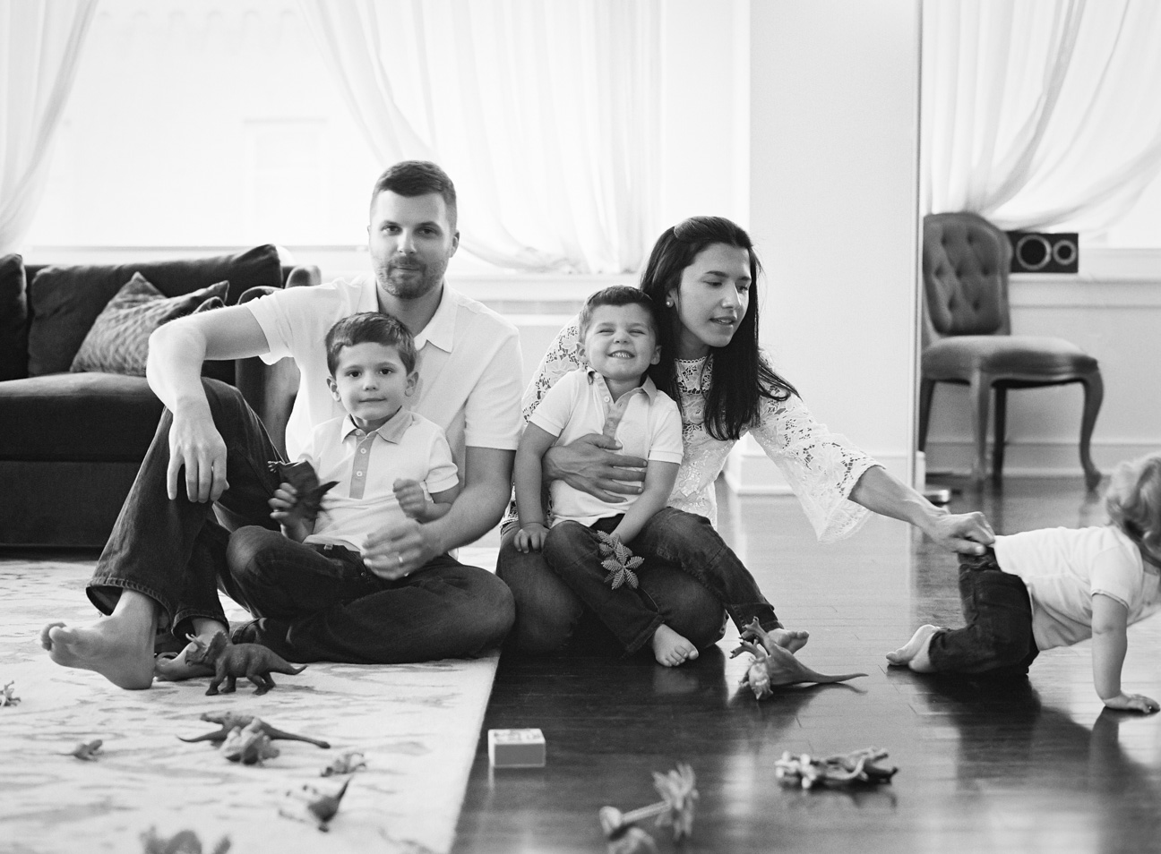 Photojournalistic style family portrait at home in NYC, by Karen Hill Photography