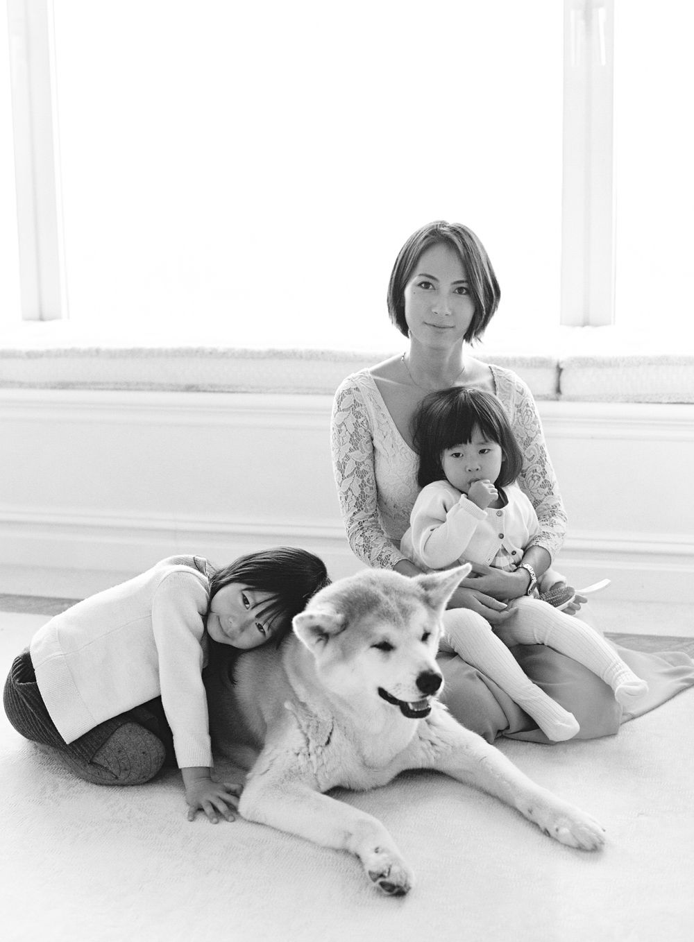 Family portrait with their dog