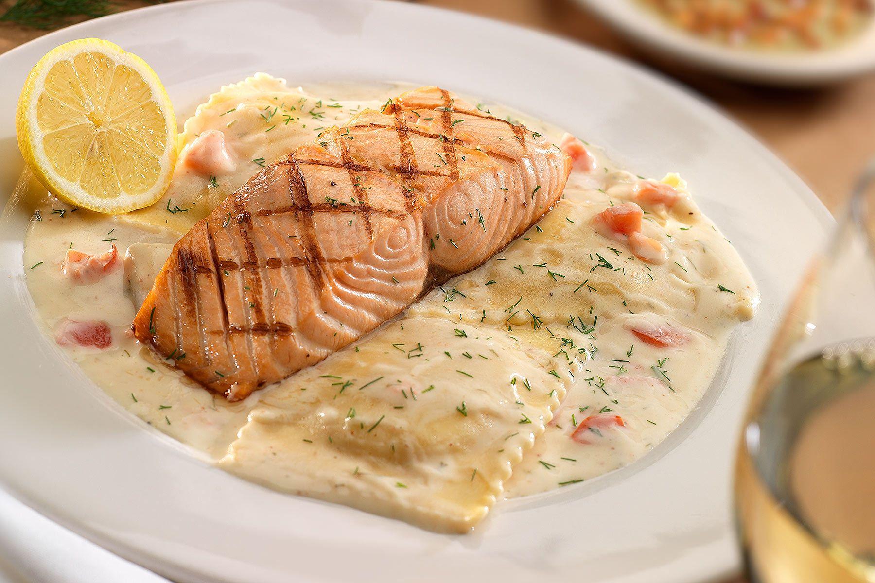 Salmon and ravioli dinner entree