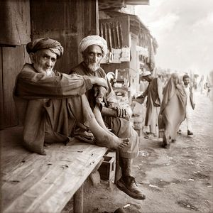 men in outdoor market / northern Afghanistan