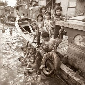 Children at play in Indonesian fishing village