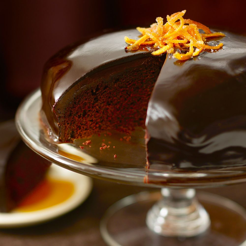 Chocolate orange cake with mirror glaze
