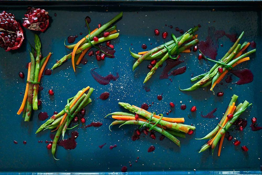 Pomegranate asparagus vegetable bundles