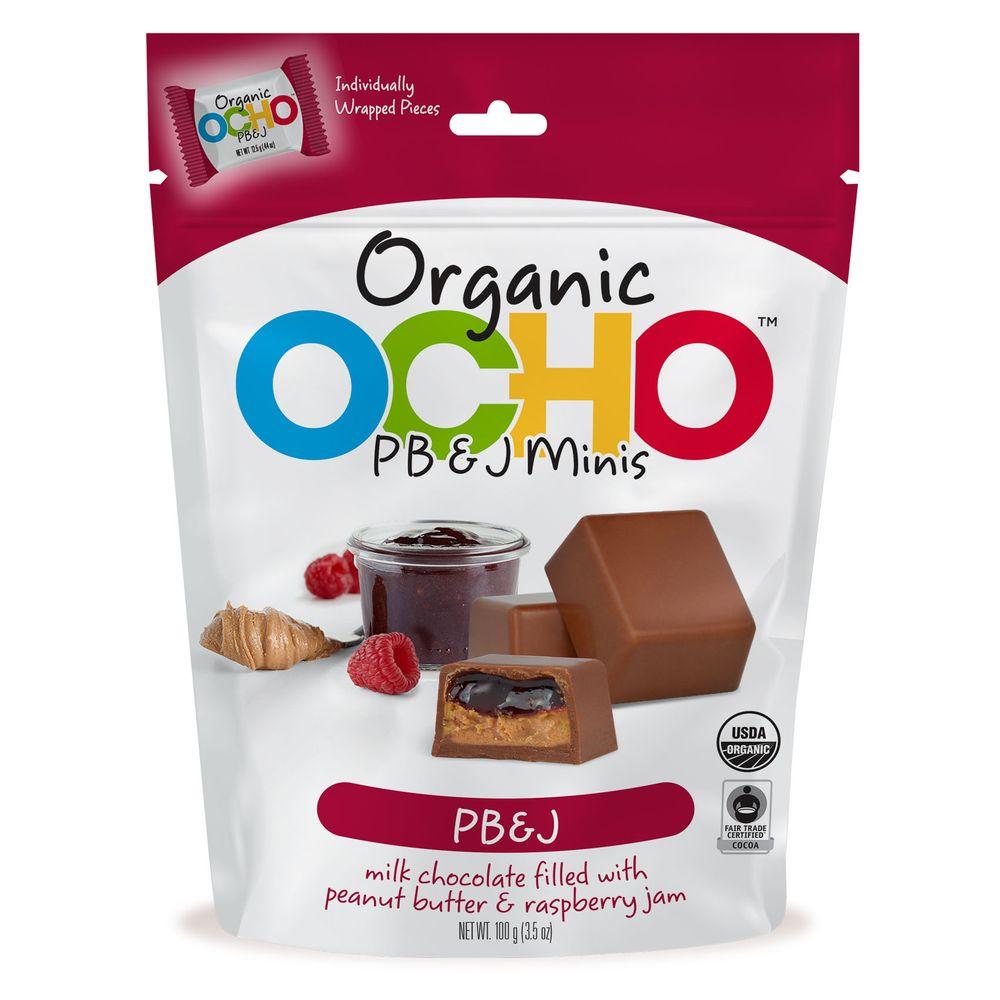 Ocho Organic milk chocolate peanut butter jelly minis