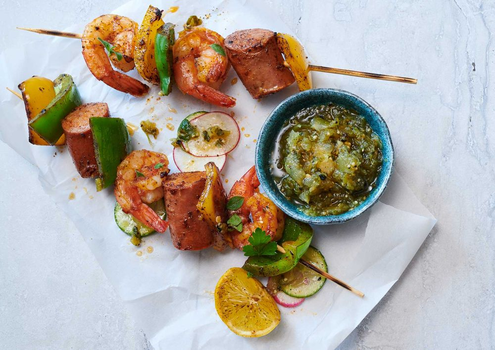 Shrimp and sausage Cajun kabobs