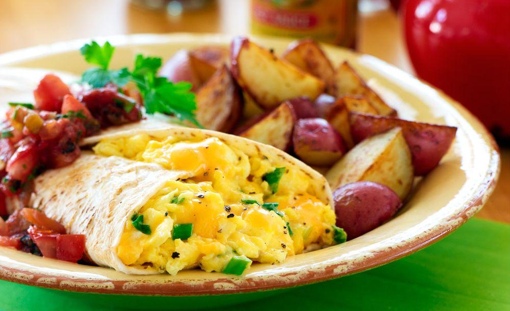 Breakfast burrito and potatoes