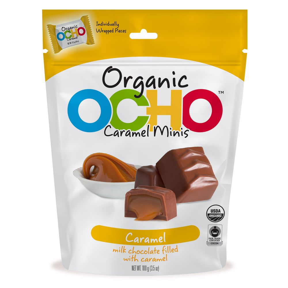 Ocho Organic milk chocolate caramel minis
