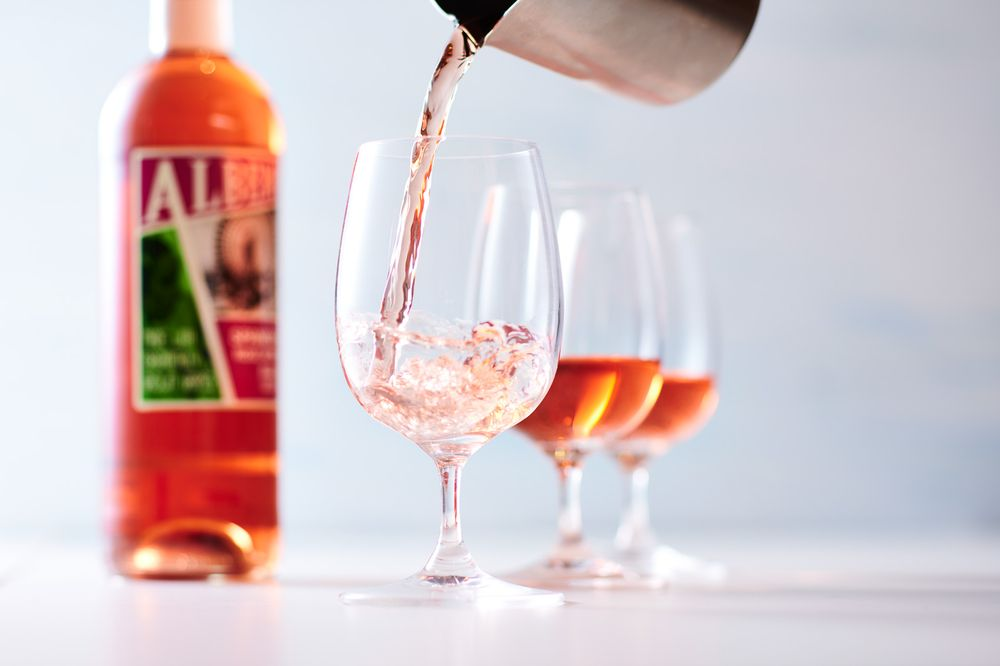 Spanish rose wine pour