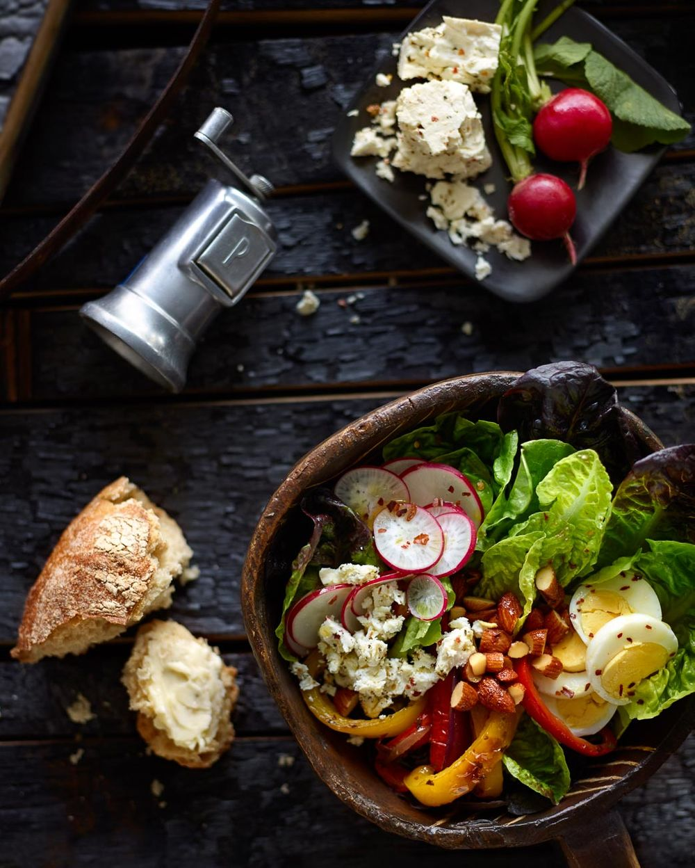 Rustic salad with bread and cheese