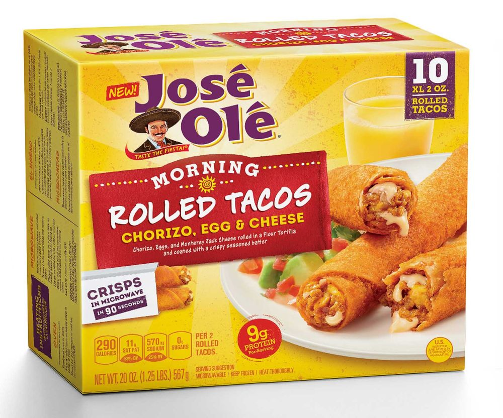 Jose Ole chorizo egg and cheese morning rolled tacos