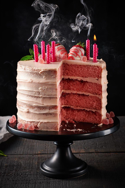 Strawberry champagne birthday cake layers