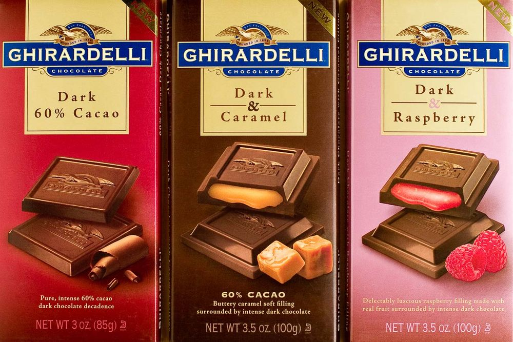 Ghirardelli chocolates packaging