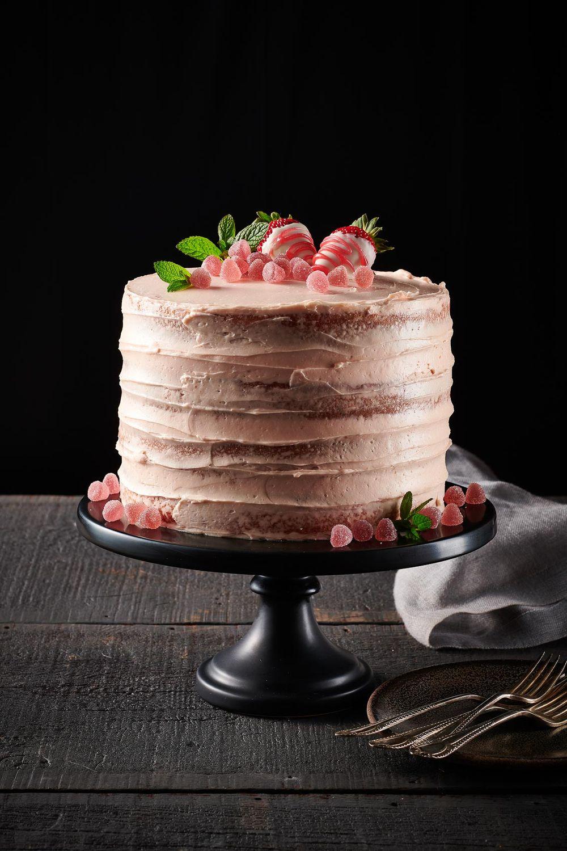Strawberry champagne birthday cake